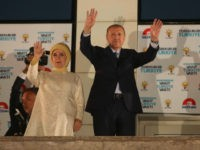 Turkey's President Recep Tayyip Erdogan and his wife Emine Erdogan greet supporters gathered in front of the AK Party headquarters on June 25, 2018 in Ankara, Turkey. More than 59 million citizens voted in the countries presidential and parliamentary elections. According to state media reports Turkey's President Recep Tayyip Erdogan …