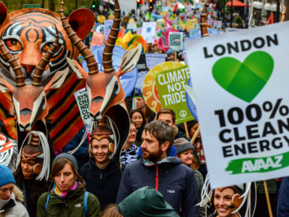 LONDON, ENGLAND - NOVEMBER 29: Protesters march down Piccadilly during the London Climate March as part of march events around the globe on the same day on November 29, 2015 in London, England. On the eve of the UN Climate Summit in Paris, people across the world are taking to …