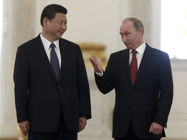 Russia's President Vladimir Putin (R) and his Chinese counterpart Xi Jinping meet in the Grand Kremlin Palace in Moscow, on March 22, 2013. Xi Jinping arrived today in Moscow on his first foreign trip, to cement ties between the two countries by inking a raft of energy and investment accords. …