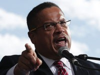 WASHINGTON, DC - DECEMBER 07: U.S. Rep. Keith Ellison (D-MN) (C) speaks during a rally on jobs December 7, 2016 at Freedom Plaza in Washington, DC. Our Revolution and Good Jobs Nation, the organizer, held a rally to demand good jobs and workers' rights from the incoming President-elect Donald Trump …