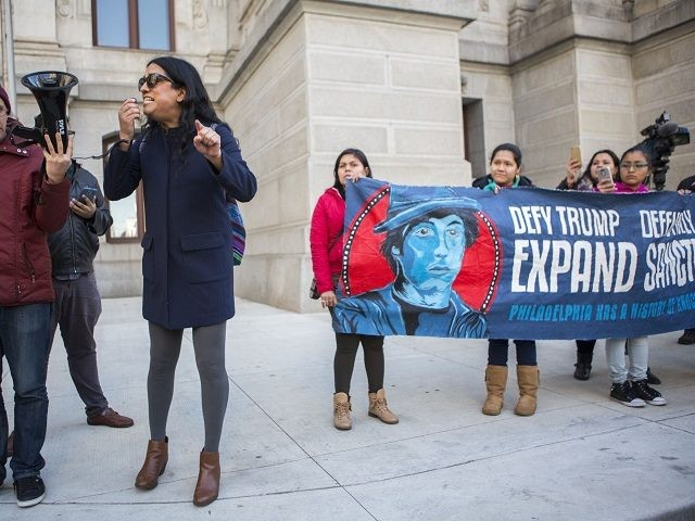 PHILADELPHIA, PA - MARCH 2: Immigration activists demonstrate against U.S. President Donald Trump's policies on March 2, 2017 in downtown Philadelphia, Pennsylvania. Trump recently said he's open to a large-scale immigration reform bill if Republicans and Democrats can reach a compromise but critics remain skeptical. (Photo by Jessica Kourkounis/Getty Images)