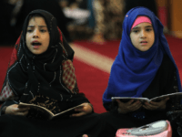Iraqi girls attend a Koran reading class at the Sheikh Abdul Qadir al-jailani mosque in central Baghdad on June 13, 2016 during the Muslim holy fasting month of Ramadan. / AFP PHOTO / AHMAD AL-RUBAYE (Photo credit should read AHMAD AL-RUBAYE/AFP/Getty Images)