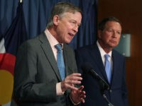 WASHINGTON, DC - JUNE 27: Gov. John Hickenlooper (D-CO) (L) and Gov. John Kasich, (R-OH) participate in a bipartisan news conference to discuss the Senate health care reform bill at the National Press Club on June 27, 2017 in Washington, DC. The governors called on Senate Democrats and Republicans to …