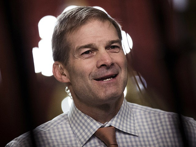 WASHINGTON, DC - DECEMBER 4: House Freedom Caucus member Rep. Jim Jordan (R-OH) speaks during a live television broadcast on Capitol Hill, December 4, 2017 in Washington, DC. The House voted to formally send their tax reform bill to a joint conference committee with the Senate, where they will try …