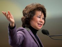 Elaine Chao, US Secretary of Transportation speaks at the start of the 2018 North American International Auto Show Press Preview in Detroit, Michigan, January 14, 2018. / AFP PHOTO / Geoff Robins (Photo credit should read GEOFF ROBINS/AFP/Getty Images)