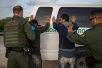 Border Patrol agents apprehend illegal immigrants shortly after they crossed the border from Mexico into the United States on Monday, March 26, 2018 in the Rio Grande Valley Sector near McAllen, Texas.