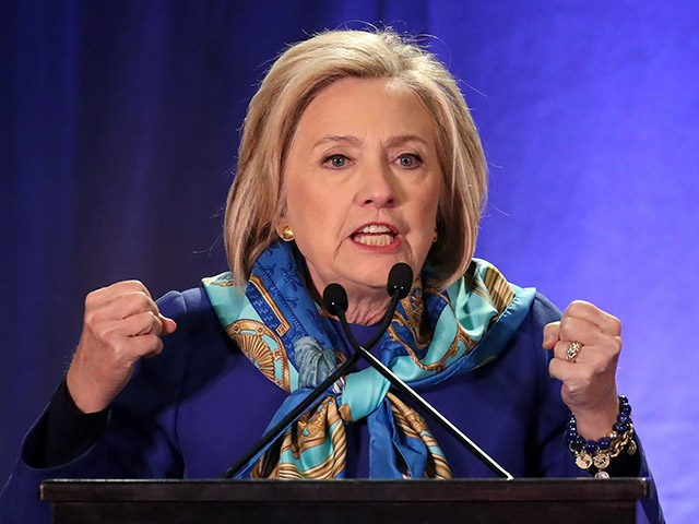 NEW YORK, NY - APRIL 27: Former U.S. Secretary of State Hillary Clinton delivers the keynote address at the Regional Plan Association annual assembly in Midtown Manhattan, April 27, 2018 in New York City. The Regional Plan Association (RPA) is a not-for-profit regional urban research and advocacy group for the …