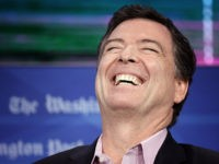 WASHINGTON, DC - MAY 07: Former FBI director James Comey laughs while answering questions during an interview forum at the Washington Post May 8, 2018 in Washington, DC. Comey discussed his stormy tenure as head of the FBI, his handling of the Hillary Clinton email investigation, his tense relationship with …