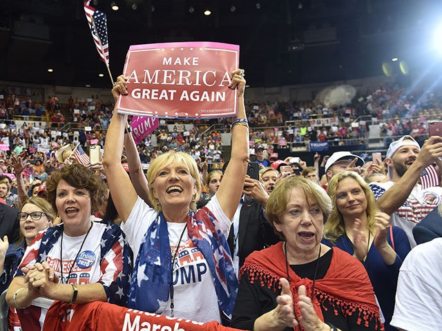 TOPSHOT - Supporters cheer as US President Donald Trump addresses a rally at the Nashville Municipal Auditorium in Nashville, Tennessee, May 29, 2018 (Photo by Nicholas Kamm / AFP) (Photo credit should read NICHOLAS KAMM/AFP/Getty Images)