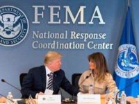 US President Donald Trump (C-L), with US Vice President Mike Pence (2nd L) and First Lady Melania Trump (C R), visits the Federal Emergency Management Agency Headquarters and attend a 2018 Hurricane Briefing in Washington, DC, on June 6, 2018. (Photo by JIM WATSON / AFP) (Photo credit should read …