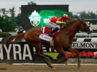 ELMONT, NY - JUNE 09: Justify #1, ridden by jockey Mike Smith leads the field to the finish line to win the 150th running of the Belmont Stakes at Belmont Park on June 9, 2018 in Elmont, New York. Justify becomes the thirteenth Triple Crown winner and the first since …