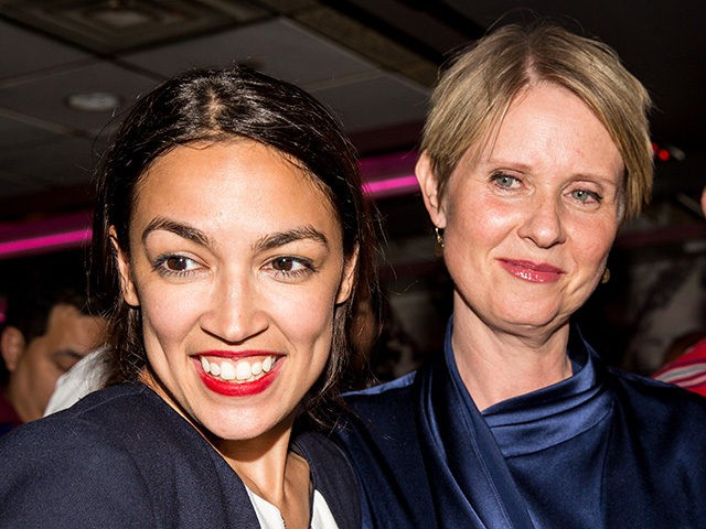 NEW YORK, NY - JUNE 26: Progressive challenger Alexandria Ocasio-Cortez is joined by New York gubenatorial candidate Cynthia Nixon at her victory party in the Bronx after upsetting incumbent Democratic Representative Joseph Crowly on June 26, 2018 in New York City. Ocasio-Cortez upset Rep. Joseph Crowley in New York's 14th …