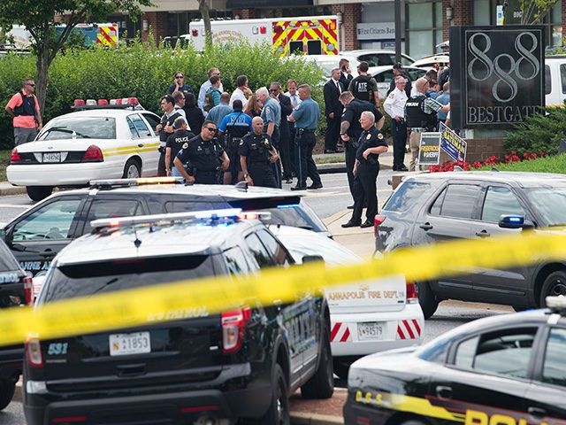 "Police respond to a shooting at the offices of the Capital Gazette, a daily newspaper, in Annapolis, Maryland, June 28, 2018. - The local ABC7 news reported ""multiple fatalities"" quoting police in the historic city located an hour east of Washington. ""ATF Baltimore is responding to a shooting incident at …"