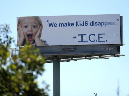 """An activist group pushing for an end to American immigration laws vandalized a California billboard to accuse U.S. Immigration officials of """"making kids disappear."""""""