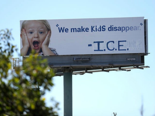 "An activist group pushing for an end to American immigration laws vandalized a California billboard to accuse U.S. Immigration officials of ""making kids disappear."""