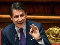 Italys Prime Minister Giuseppe Conte gestures as he speaks during a confidence debate at the Senate in Rome on June 5, 2018.