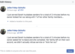 Jaike Foley-Schultz posts on Facebook about Sarah Sanders being kicked out of a Virginia restaurant.