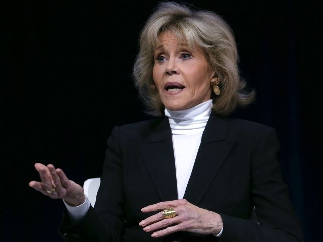 Actress Jane Fonda speaks during the 29th annual Conference of the Professional Businesswomen of California (PBWC) on April 23, 2018 in San Francisco, California. The PBWC is a day of keynote speakers and seminars by top female leaders, panels of industry experts. (Photo by Justin Sullivan/Getty Images)