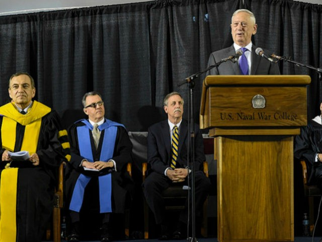 Defense Secretary James N. Mattis addresses U.S. Naval War College class of 2018 graduates during a commencement ceremony in Newport, R.I., June 15, 2018. This year's graduating class included 323 resident students of the Navy, Marine Corps, Air Force, Army, Coast Guard, federal civilian employees and 103 international students. Additionally, …