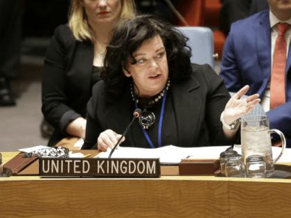 British Ambassador to the United Nations Karen Pierce speaks at U.N. headquarters, Thursday, April 19, 2018. (AP Photo/Seth Wenig)