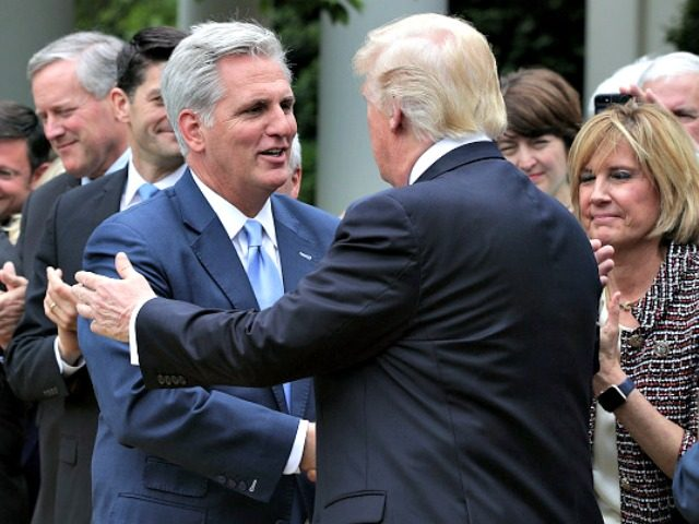WASHINGTON, DC - MAY 04: U.S. President Donald Trump (R) greets House Majority Leader Rep. Kevin McCarthy (R-CA) (L) during a Rose Garden event May 4, 2017 at the White House in Washington, DC. The House has passed the American Health Care Act that will replace the Obama era's Affordable …