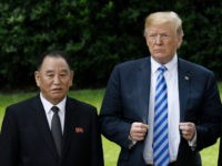 US President Donald Trump stands with Kim Yong Chol, former North Korean military intelligence chief and one of leader Kim Jong Un's closest aides, on the South Lawn of the White House on June 1, 2018 in Washington, DC. Both Trump and Kim Yong Chol are trying to salvage a …
