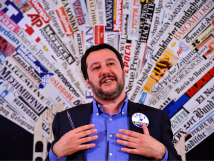 Italy's Lega Nord party (Northern League) Matteo Salvini answers questions at the Foreign Press Association in Rome on February 22, 2018. Salvini and his coalition run for the March 4, 2018 vote aimed at electing Parliament and Senate members. / AFP PHOTO / Alberto PIZZOLI (Photo credit should read ALBERTO …