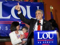 HAZLETON, PA - MAY 15: U.S. Congressman Lou Barletta (R - Pa.) waves to supporters after his victory in the 2018 Pennsylvania Primary Election for U.S. Senator on May 15, 2018 in Hazleton, Pennsylvania. In the second major May primary day nationwide, four states go to the polls: Idaho, Nebraska, …