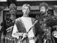1979: Members of the British comedy team, Monty Python, during the filming of their controversial film 'The Life of Brian', (from left) John Cleese as a centurion, Michael Palin as Pontius Pilate and Graham Chapman as Biggus Dickus. (Photo by Evening Standard/Getty Images)