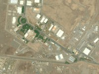 NATANZ FUEL ENRICHMENT FACILITY, IRAN - JULY 26, 2015: DigitalGlobe closeup imagery of the Natanz Fuel Enrichment Plant covering 100,000 square meters that is built 8 meters underground and protected by a concrete wall 2.5 meters thick. Photo DigitalGlobe via Getty Images.