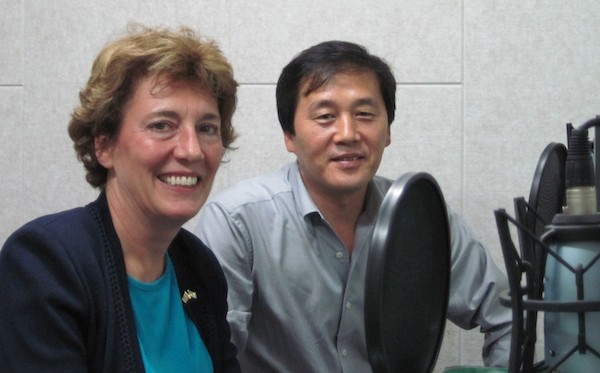 Free North Korea Radio founder and defector Kim Seong Min with Suzanne Scholte just before a broadcast. Free North Korea Radio broadcasts news and information about the Kim regime that is banned in North Korea.