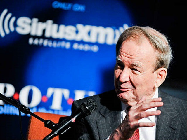WASHINGTON, DC - JULY 16: Pat Buchanan speaks while being interviewed by SiriusXM's Tim Farley about his latest book, 'The Greatest Comeback' at SiriusXM Studio on July 16, 2014 in Washington, DC. (Photo by Kris Connor/Getty Images for SiriusXM)