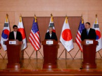 US Secretary of State Mike Pompeo (R), South Korea's Foreign Minister Kang Kyung-wha (C) and Japan's Foreign Minister Taro Kono (L) attend a joint news conference at the Foreign Ministry in Seoul on June 14, 2018. - North Korea's Kim Jong Un understands that denuclearisation must happen 'quickly', US Secretary …