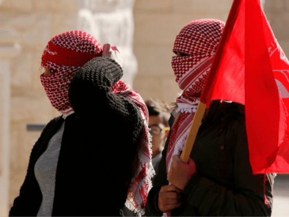 Female Palestinian protestors take part in clashes with Israeli forces following a demonstration by the Popular Front for the Liberation of Palestine (PFLP) in Bethlehem in the Israeli occupied West Bank, on December 16, 2017, as protests continue in the region amid anger over the US president's recognition of Jerusalem …
