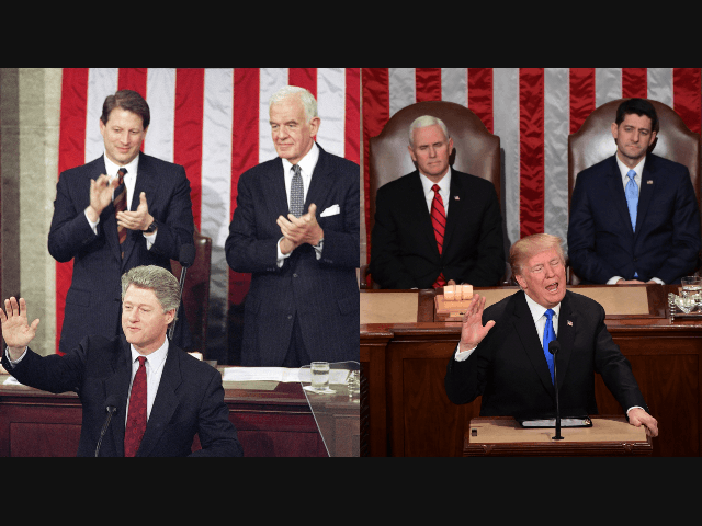 Bill Clinton at the 1994 State of the Union with VP Al Gore and Speaker of the House Tom Foley, who would become the first sitting Speaker to lose his seat in the that year's GOP landslide