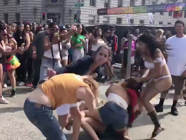More than a dozen women began brutally fighting at San Francisco's Pride Festival on Sunday over a dispute about a singer's performance.