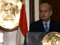 Egypt Prime Minister Sherif Ismail and his French counterpart Manuel Valls (unseen) take part in a joint press conference at the Office of the Prime Minister on October 10, 2015 in the Egyptian capital Cairo. Valls arrived in Egypt to start a three-country Arab tour aimed at boosting economic ties …