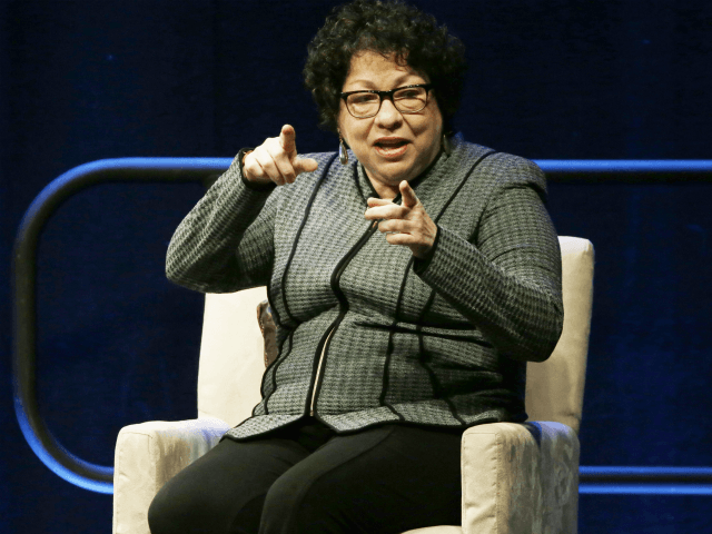 In this Feb. 7, 2018, file photo, Supreme Court Justice Sonia Sotomayor speaks during an appearance at Brown University in Providence, R.I. Sotomayor was only following the lead of her chief during Tuesday's arguments over crisis pregnancy centers when she said she visited the website of one of the centers …