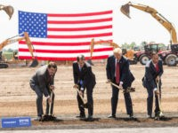 "U.S. President Donald Trump (C) breaks ground with Wisconsin Gov. Scott Walker (2nd L), Foxconn CEO Terry Gou (2nd R), U.S. House Speaker Paul Ryan (R-WI) (R) and Christopher ""Tank"" Murdock (L), the first Wisconsin Foxconn employee, at a ceremony for the Foxconn Technology Group computer screen plant on June …"