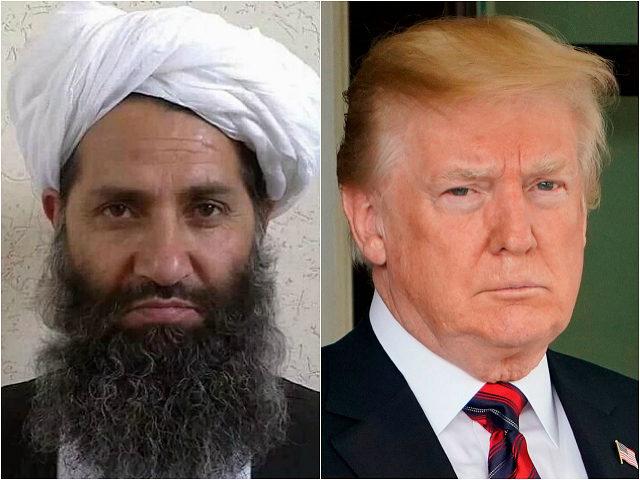 Afghan Taliban Mullah Hibatullah Akhundzada and Donald Trump
