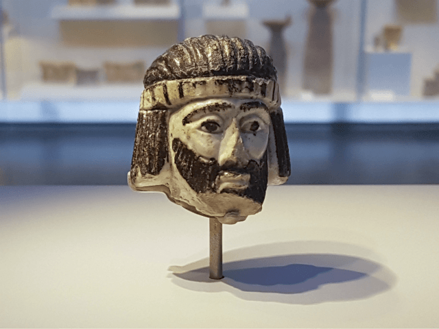 This Monday, June 4, 2018 photo shows a detailed figurine of a king's head on display at the Israel Museum, dating to biblical times, and found last year near Israel's northern border with Lebanon, in Jerusalem. A palm-sized enigmatic sculpture of a king's head dating back nearly 3,000 years has …