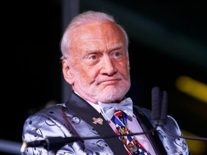 DALLAS, TX - APRIL 20: Buzz Aldrin receives an award during the EarthxGlobal Gala on April 20, 2018 in Dallas, Texas. (Photo by Cooper Neill/Getty Images for EarthX)