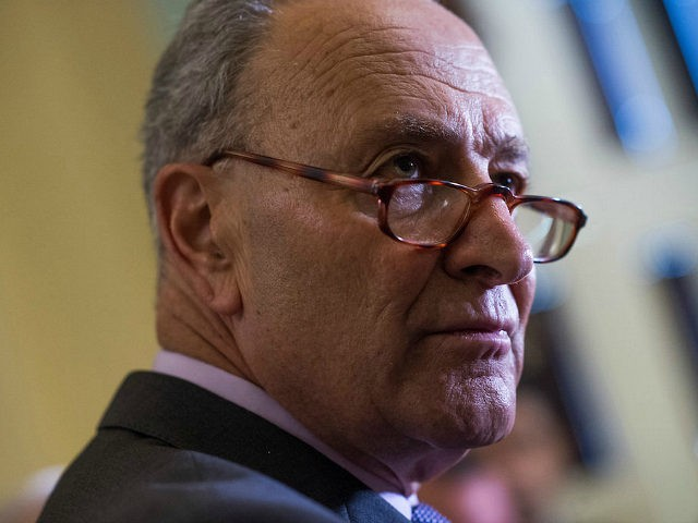 UNITED STATES - JUNE 5: Sen. Minority Leader Charles Schumer, D-N.Y., talks with reporters after the Senate Policy luncheons in the Capitol on June 5, 2018. (Photo By Tom Williams/CQ Roll Call)