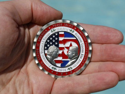 A commemorative coin released by the White House for a potential 'peace summit,' featuring the names and silhouettes of U.S. President Donald Trump and North Korean leaderKimJungUn, is displayed for a photograph in Washington, D.C., U.S., on Thursday, May 24, 2018. Trumpcanceled his plannedsummitwith Kim Jong Unthat had been scheduled …