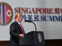 US President Donald Trump speaks at a press conference following the historic US-North Korea summit in Singapore on June 12, 2018. - Donald Trump and Kim Jong Un hailed their historic summit on June 12 as a breakthrough in relations between Cold War foes, but the agreement they produced was …