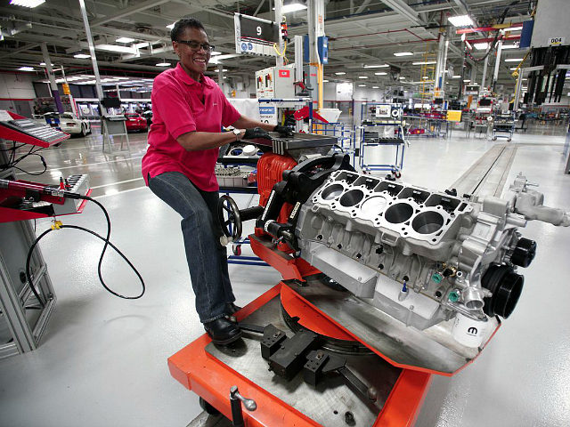 DETROIT, MI - MAY 08: Angella Richberg of Detroit, Michigan handles an engine for a Dodge Viper as it goes through the assembly line at the Viper Assembly Plant May 8, 2015 in Detroit, Michigan. The plant, which makes three Vipers per day, also makes the new 2016 Dodge Viper …