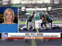 A screenshot of a Fox News segment where the network used photos of Philadelphia Eagles players kneeling in prayer to illustrate a story about players who protest the national anthem.