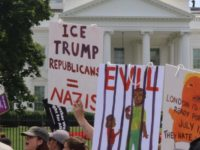 This sign holder displayed the extreme accusation in front of the White House (Credit: Michelle Moons/Breitbart News)