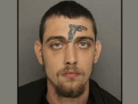 A Greenville, South Carolina, man with a face tattoo of a pistol was charged with unlawful firearm possession after firefighters witnessed him throw a revolver into the grass.