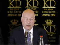 U.S. President Donald Trump's Middle East envoy, Jason Greenblatt, center, Israeli Minister of Regional Cooperation Tzachi Hanegbi, left, and the head of the Palestinian Water Authority, Mazen Ghoneim give a news conference about a water-sharing agreement, in Jerusalem, Thursday, July 13, 2017. Greenblatt announced Thursday that Israel and the Palestinians …